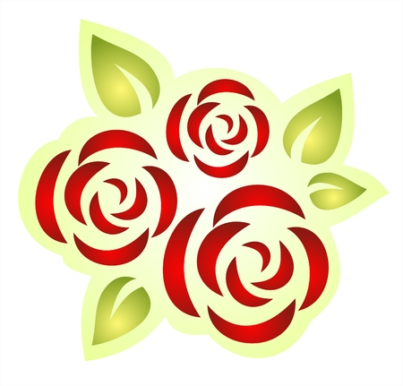 Three stylized roses on a white background. Digital illustration.