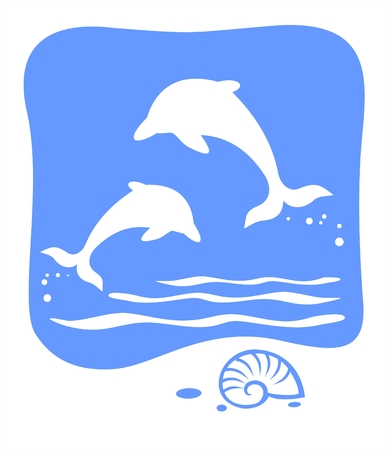 free vector art: White silhouettes of dolphins and cockleshell on a blue background. Illustration