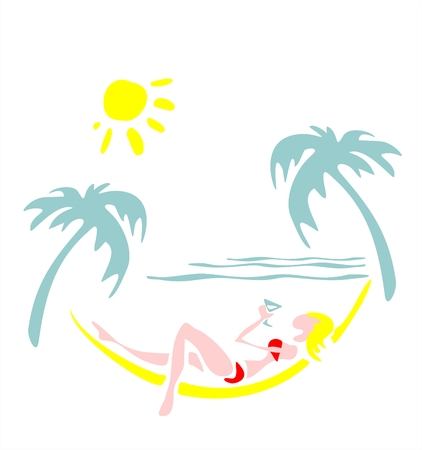 The girl laying in a hammock on a background of the sea Vector