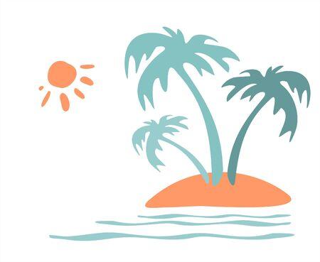 Three palm trees growing on island at ocean. Illustration
