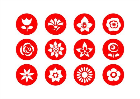 White flower symbols on a red background. Vector