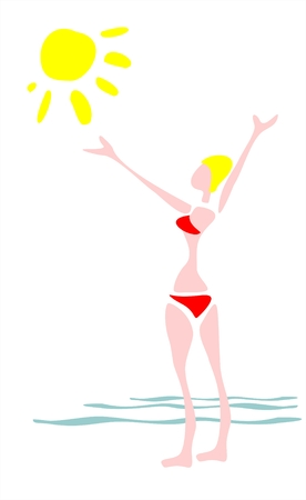 The stylized figure of the girl on a background of the sea and the sun. Vector
