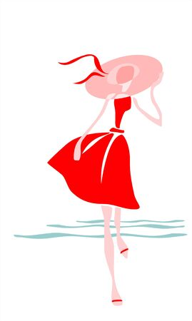 The stylized figure of the girl in a hat and a red dress.