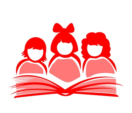 Silhouettes of three girls reading the book. Vector