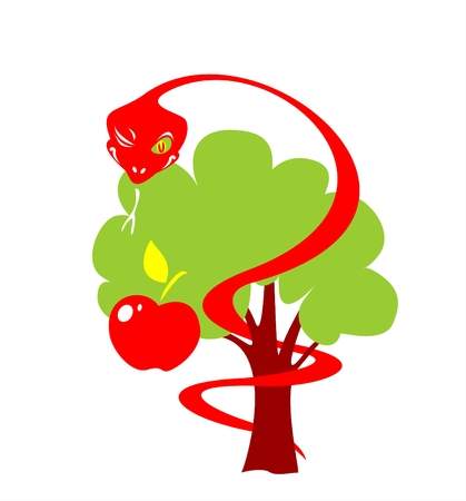 Apple, tree and snakes on a white background.