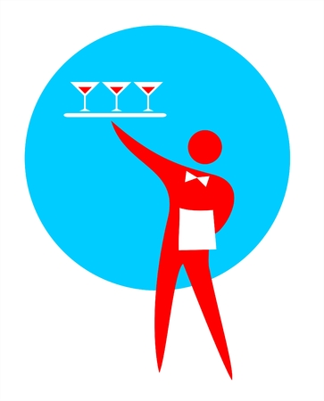 dexterous: The waiter holding a tray with glasses.