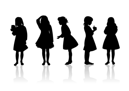 fondly: Five black childrens silhouettes on a white background.