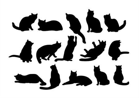 Fifteen black cats silhouettes on a white background.