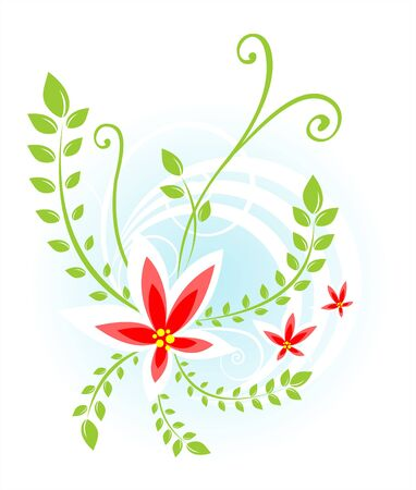 Composition from red flowers, leaves and circles on a white background. Stock Vector - 2335253