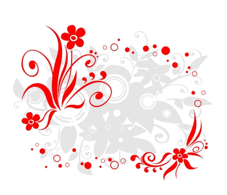 Frame from a red vegetative ornament with a shadow on a white background. Stock Vector - 2335248