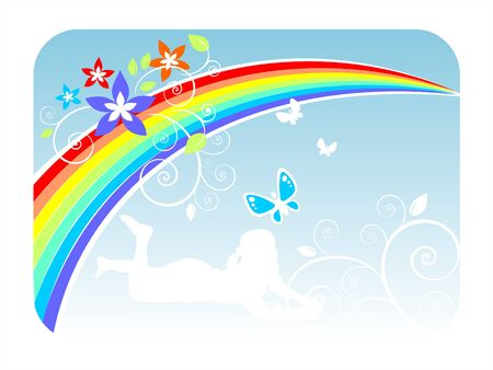 fondly: Rainbow, butterflies, flowers and a silhouette of the girl on a white background.
