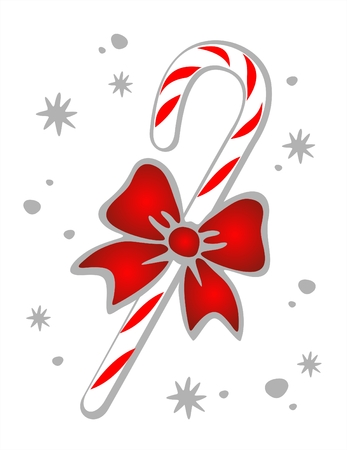 Candy cane and bow on a white background. Christmas illustration.