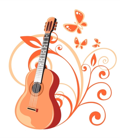 Guitar and vegetative pattern on a white background. Digital illustration.