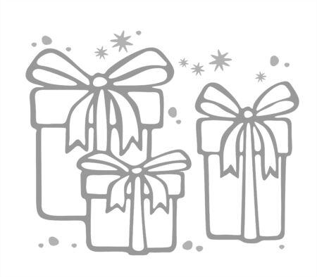 three gift boxes: Tres cajas de regalo silueta sobre un fondo blanco. Ilustraci�n digital.