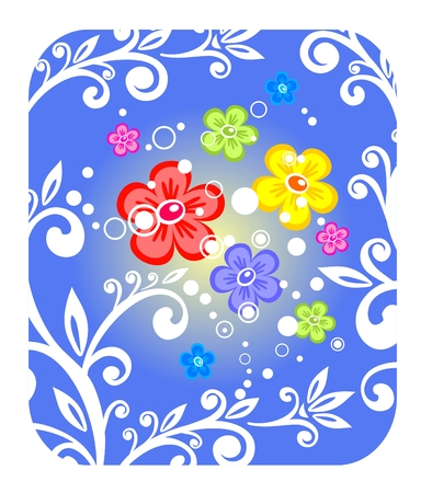 fondly: Multi-colored flowers and curls on a blue background.