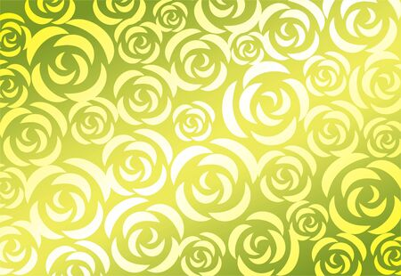 simplify: The light green stylized roses on a yellow background.