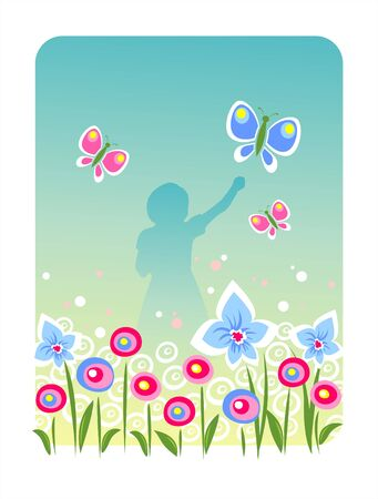 Silhouette of the girl with butterflies on a background of a blossoming meadow. Illustration