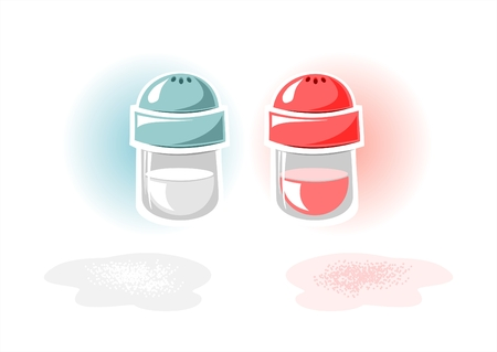 Jars with pepper and salt on a white background. Vector