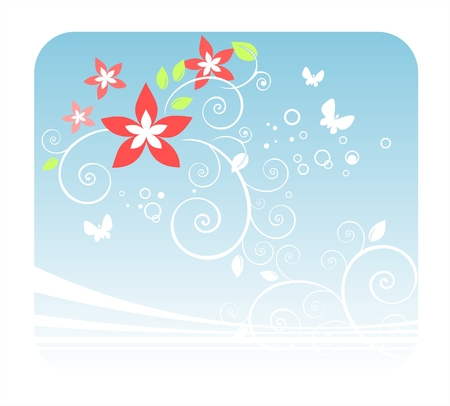 White curls, butterflies and red flowers on a blue background. Vector