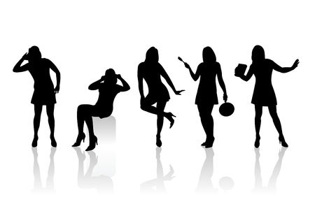 Five black fashionable female silhouettes on a white background with shadows. Vector