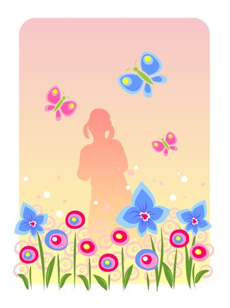 Silhouette of the girl with butterflies on a background of a blossoming meadow. Vector