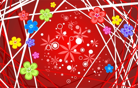 Multi-colored flowers and strips on a red background. Vector