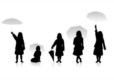 Five black childrens silhouettes and a umbrella on a white background.