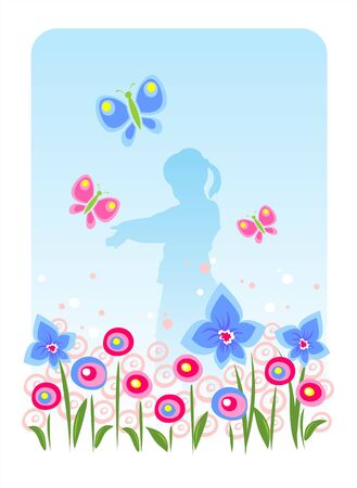 Dark blue silhouette of the girl on a background of a  meadow and butterflies.