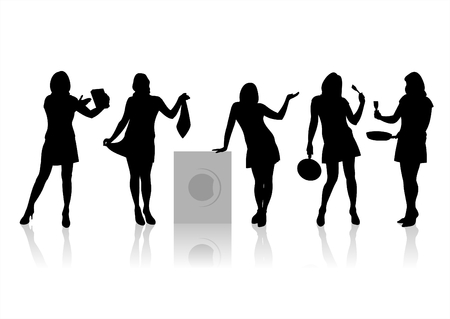 chic woman: Five black fashionable female silhouettes on a white background with shadows.