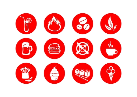 Red-white symbols of food on a white background. Vector