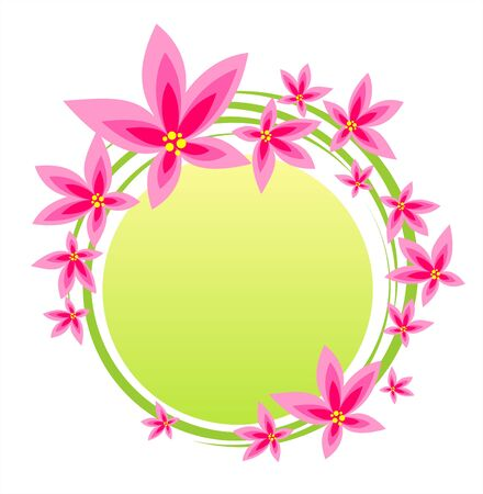 The frame from pink flowers on a white-green background.