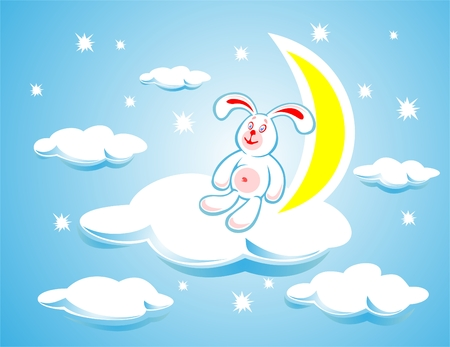 The white rabbit sitting on a cloud on a background of the moon and stars.