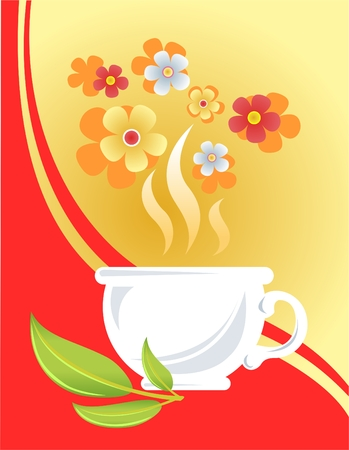 White cup, tea leaves and flowers on a yellow-red background. Vector