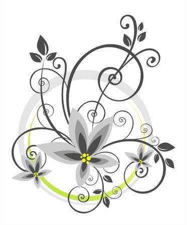 floral pattern on a white background. Digital illustration.