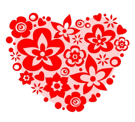 Pink flower heart on a white background. Valentines illustration. Vector