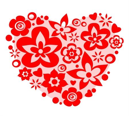Pink flower heart on a white background. Valentine's illustration. Stock Vector - 2368211