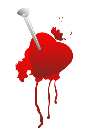 Grunge broken heart and blood on a white background. Vector
