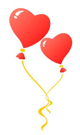 Two red heart balloons on a white background. Valentines illustration. Vector