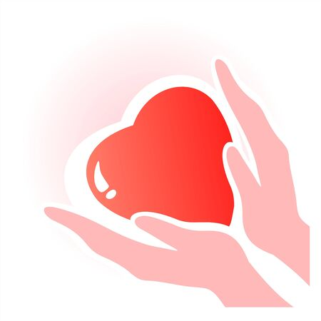 Heart in hands. A symbol of love and tenderness. Valentines illustration. Vector