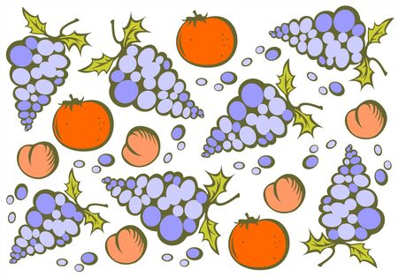 ripened: The stylized peaches, oranges and grapes on a white background. Illustration