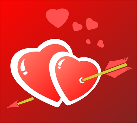 Two hearts pierced by an arrow of a cupid. Valentines illustration. Vector