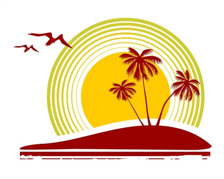 Three palm trees, the stylized sun and birds on a white background. Illustration