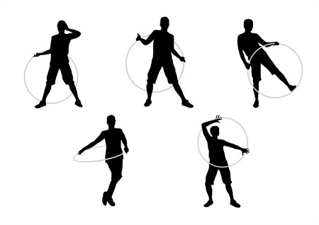 dexterous: Black female silhouettes with hoops on a white background
