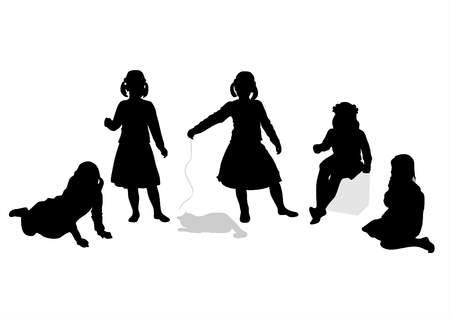 Five black childrens silhouettes and a cat on a white background. Vector