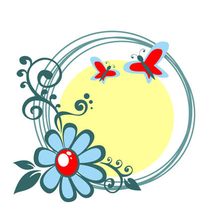 stylization: Dark blue flower and butterflies on a white-yellow background with circles. Illustration