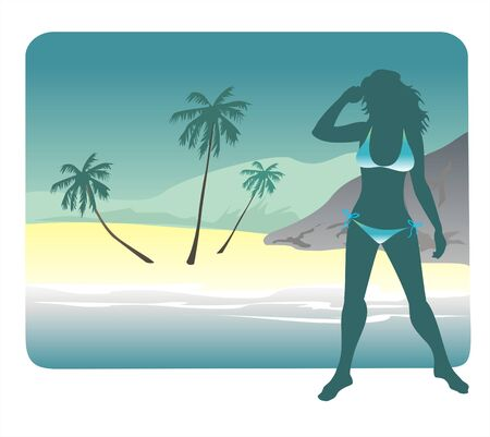 stylization: Dark silhouette of the girl in a bathing suit on a background of tropical coast.