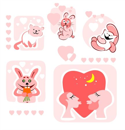 Cartoon stylized enamored pair, rabbits, cats and hearts on a white background. Vector