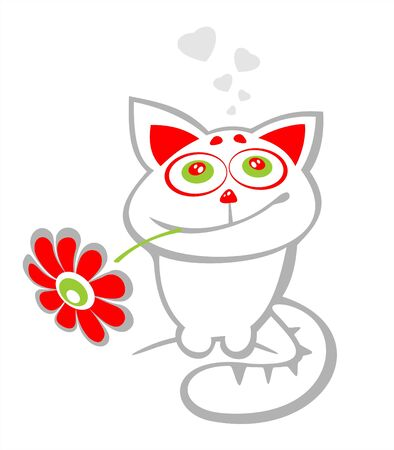 amorous: Stylized  happy cat with flower on a white background. Valentines illustration.