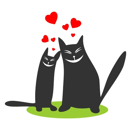 enamored: Two enamored black cats and hearts on a white background. Valentines illustration.