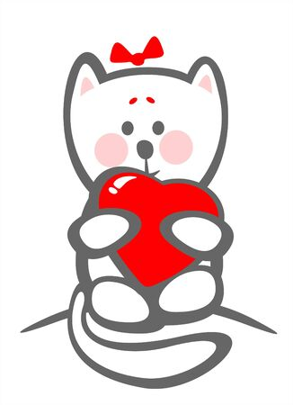 timid: Stylized timid kitten with heart on a white background. Valentines illustration.